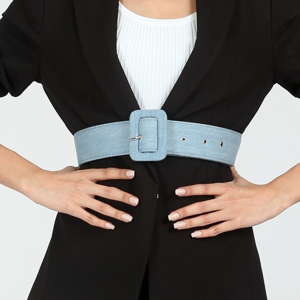 Mini Light Blue Denim Belt by Madish