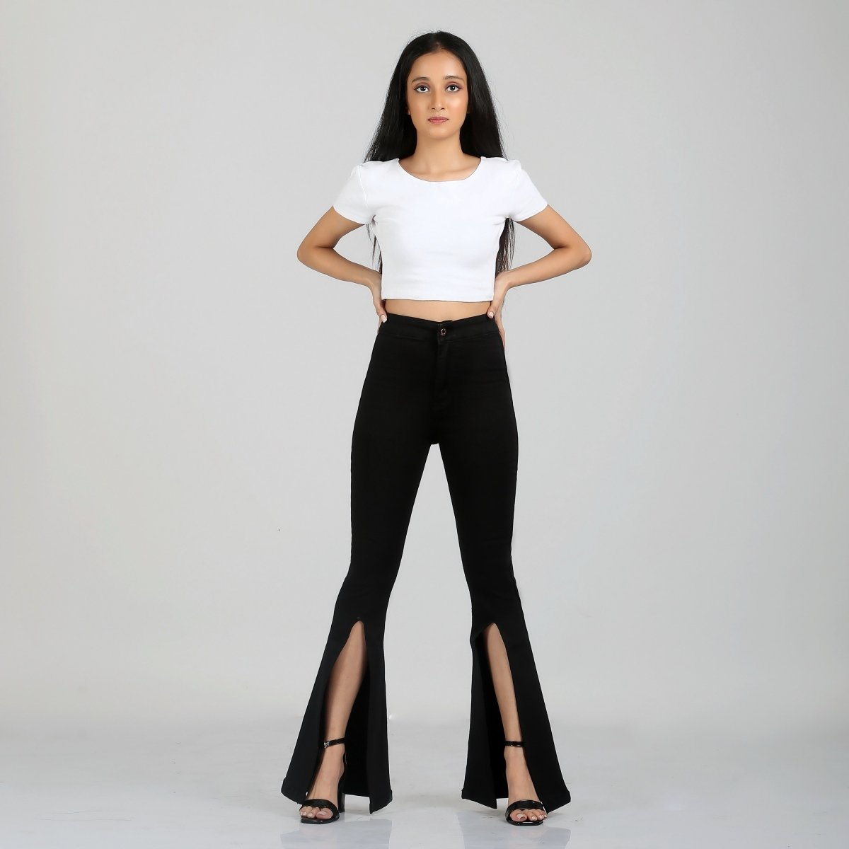 Peek-a-Boo Black Bell Bottom High Waist Jeans by Madish