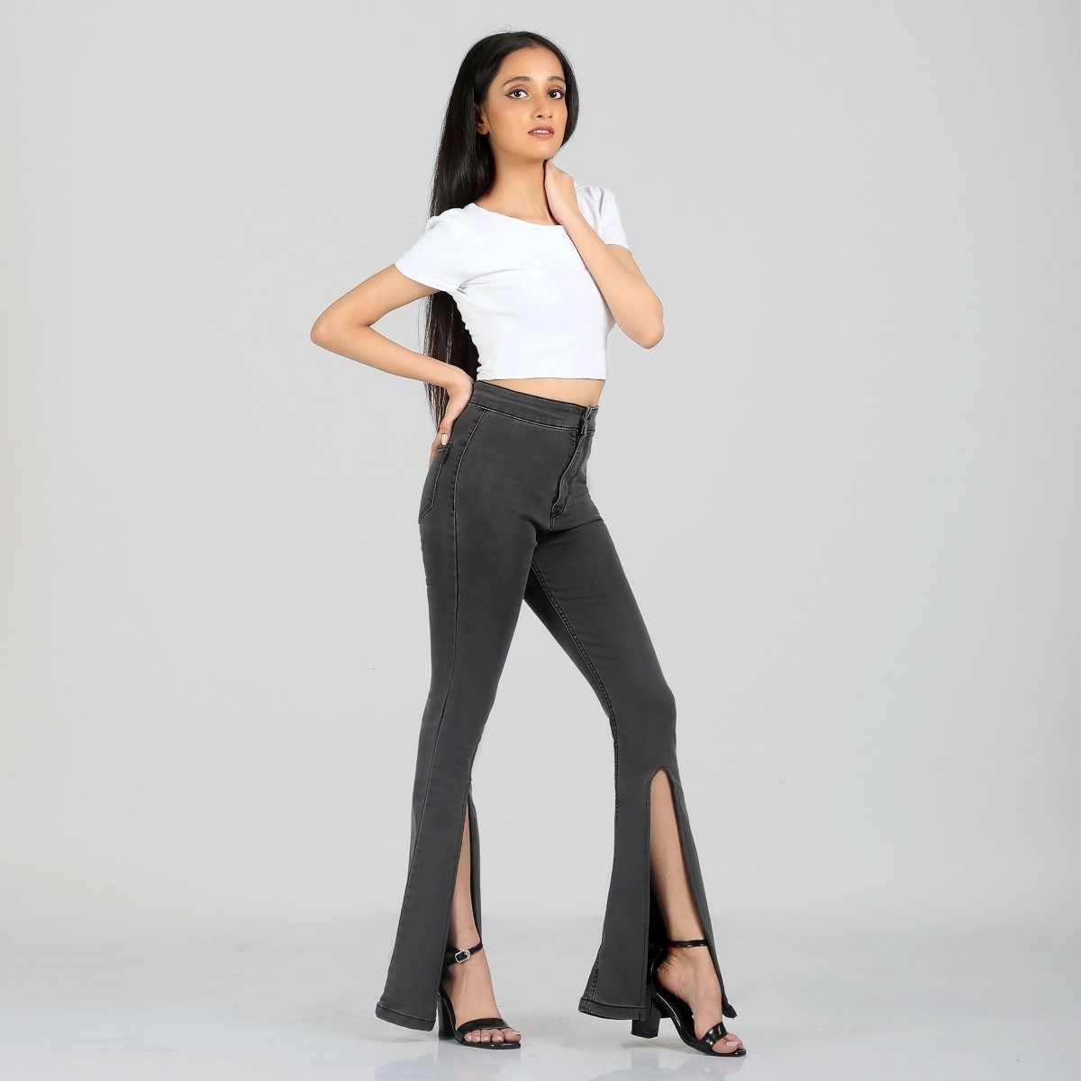 Peek-a-Boo Charcoal Bell Bottom High Waist Jeans by Madish