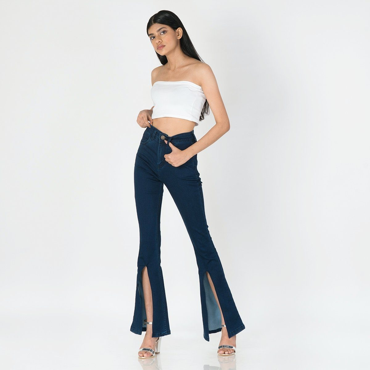 Peek-a-Boo Deep Blue Bootcut High Waist Jeans by Madish