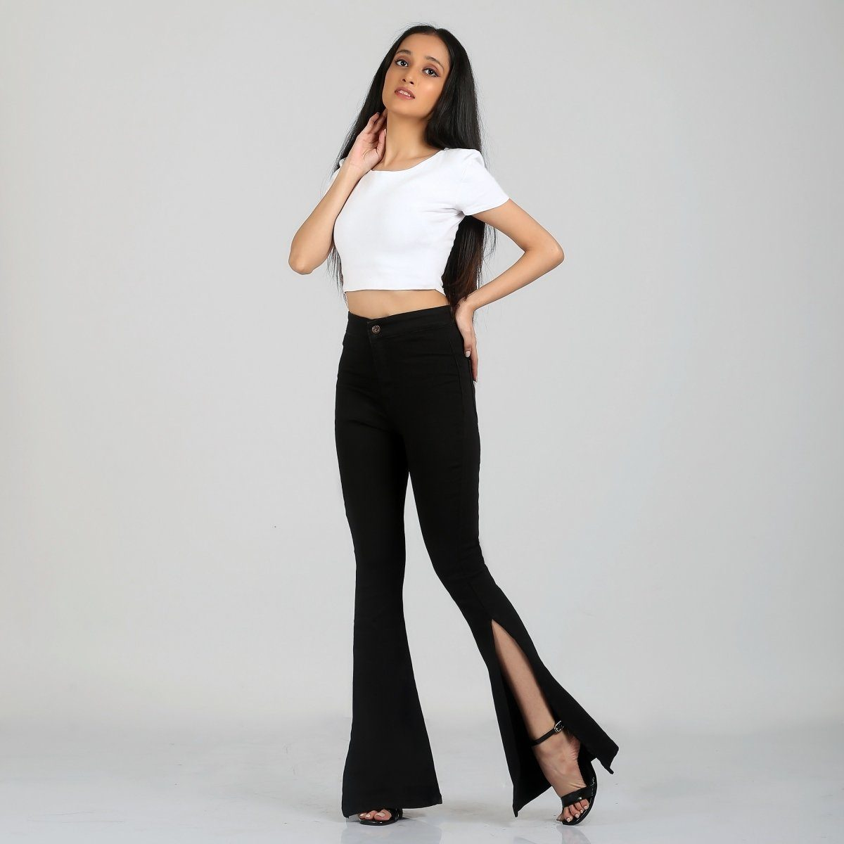 Side Slit Black Bell Bottom High Waist Jeans by Madish