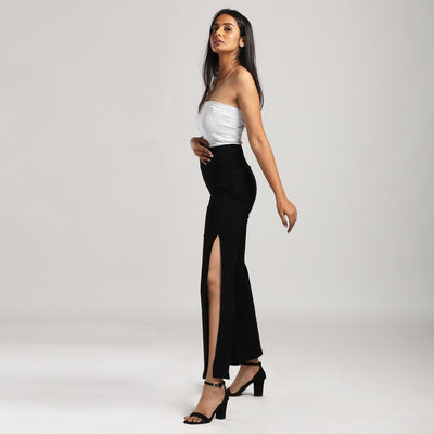 Side Slit Jet Black Wide Leg High Waist Jeans Jeans Madish