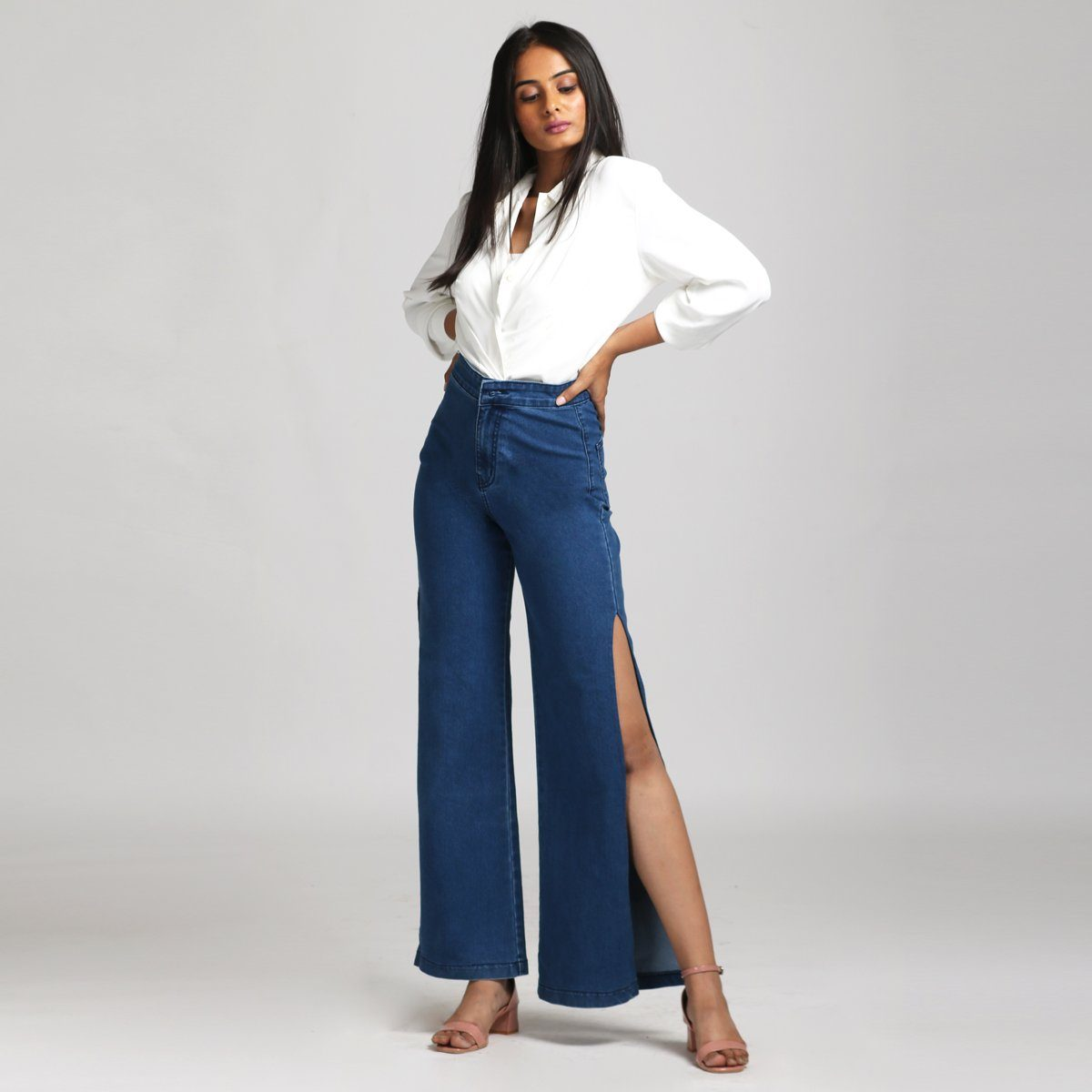Side Slit Mid Blue Wide Leg High Waist Jeans Jeans Madish
