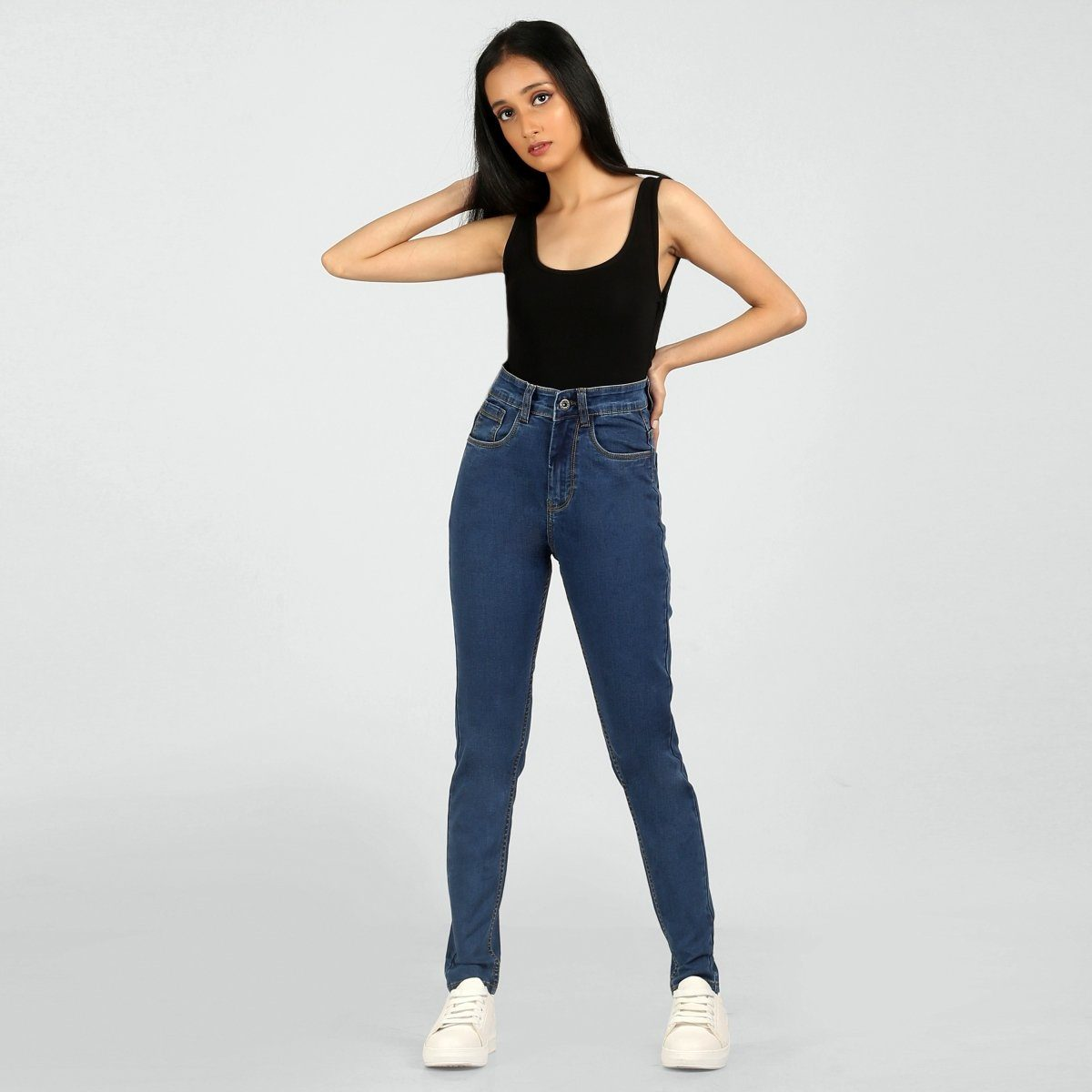The 70s Slim Fit Classic Blue High Waist Jeans by Madish