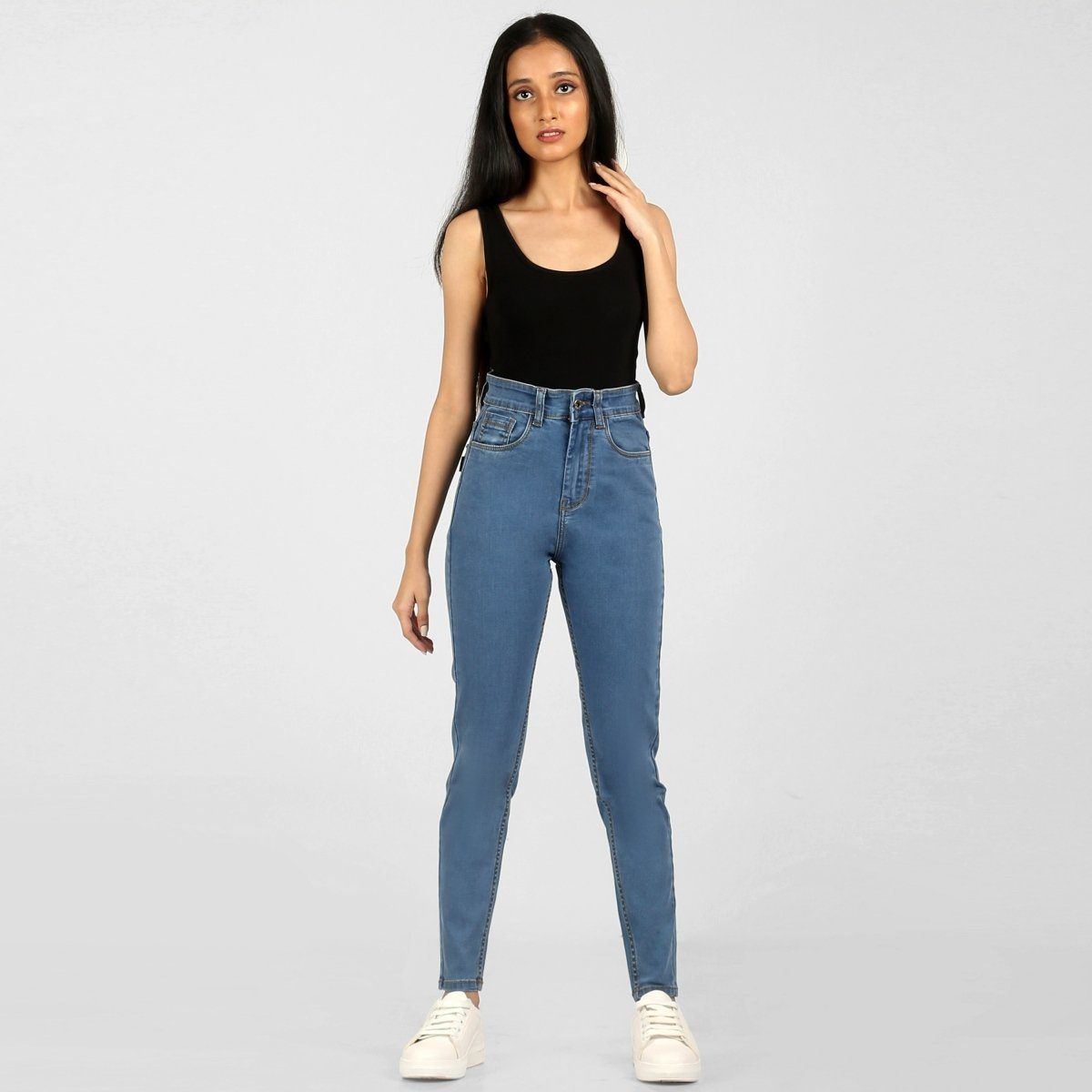 The 70s Slim Fit Hazy Blue High Waist Jeans by Madish