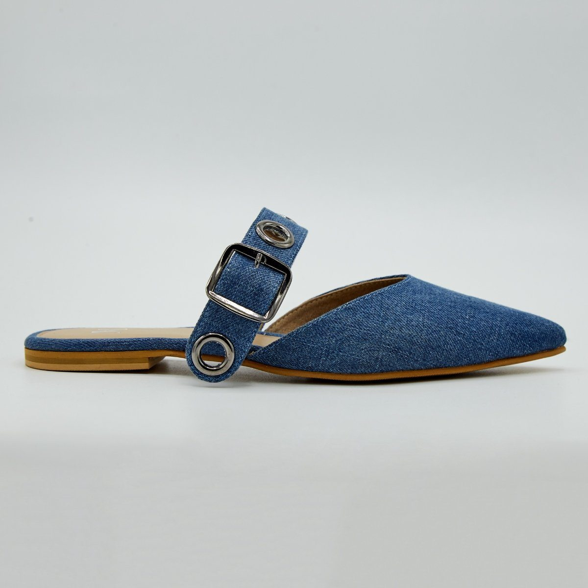 Timeless Buckled Mid Blue Denim Flats by Madish