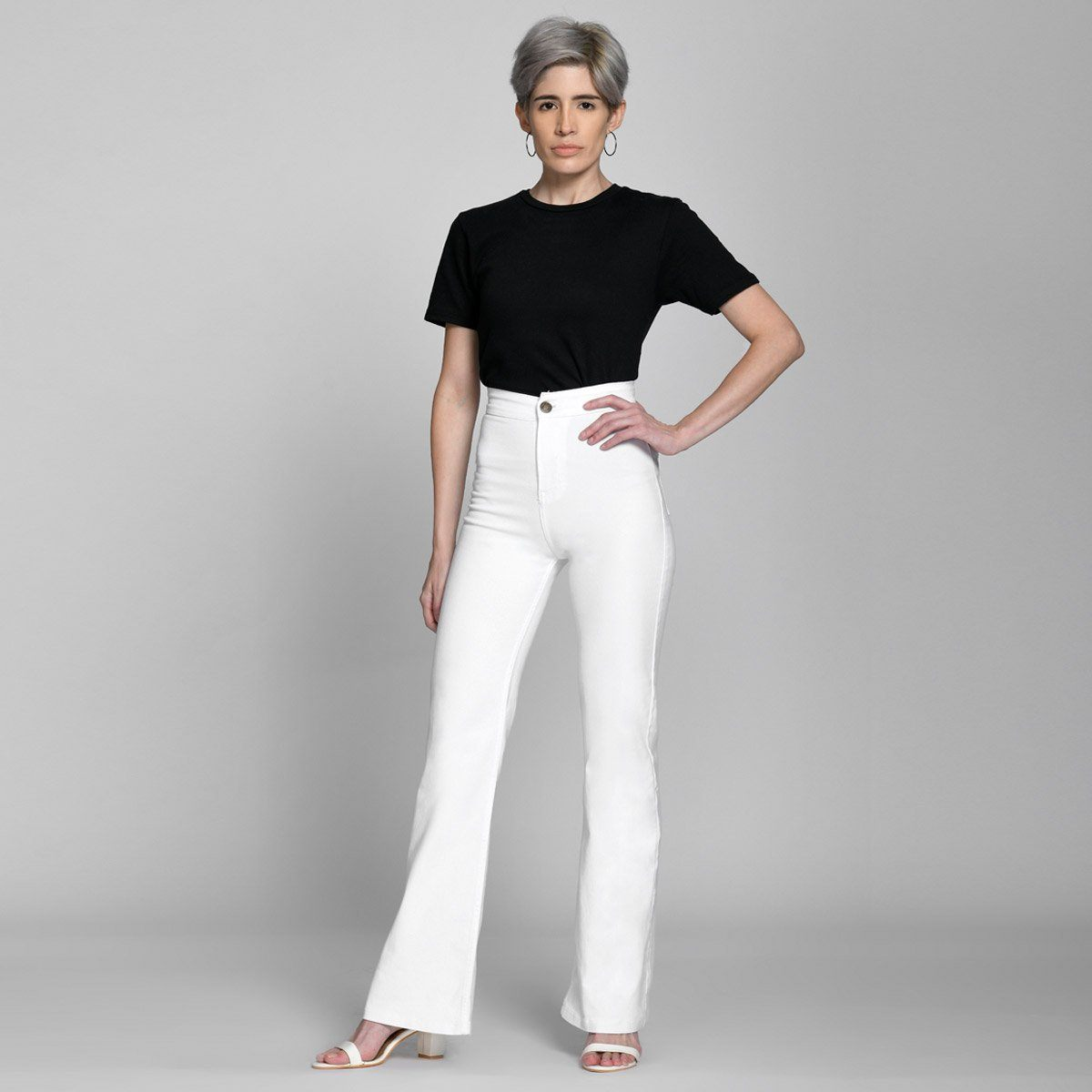 White Extreme Wide Leg High Waist Jeans by Madish