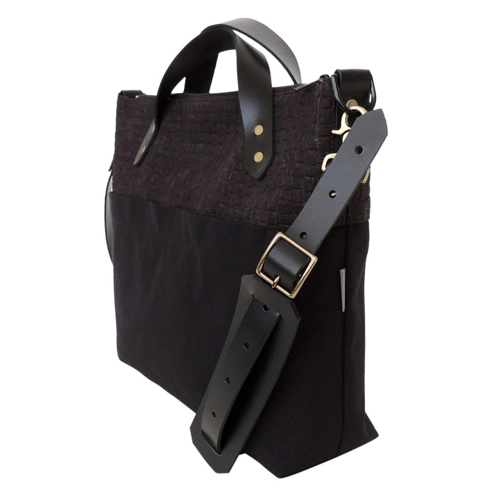 Messenger Bag (unisex) in Black Cork and Canvas
