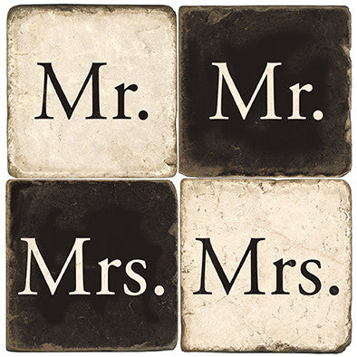 "Marble Coasters ""Mr. and Mrs."""
