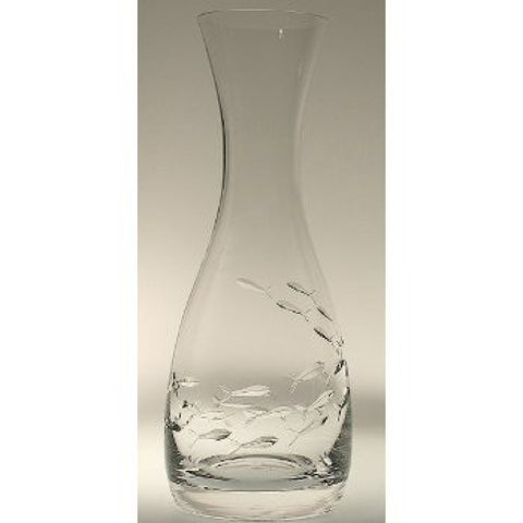 School of Fish Etched Glass Carafe