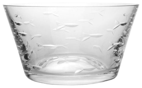 School of Fish Etched Glass Bowl