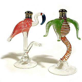 Palm and Flamingo Glass Salt & Pepper Shakers