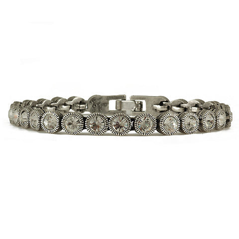 Game Set Match Bracelet Silver Crystal