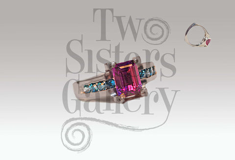 Monet Ring in Amethyst/Swiss Blue Topaz