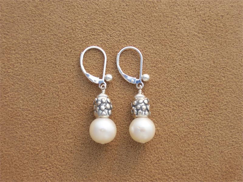 White Pearl and Sterling Earrings