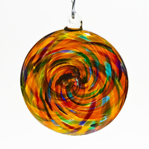 Spiral Disk Blown Glass Ornament