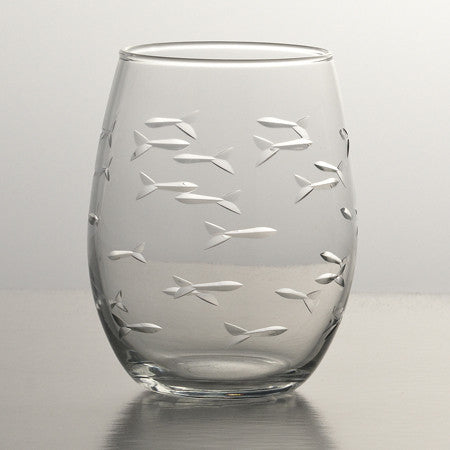 School of Fish Etched Glass Stemless Red Wine Tumbler