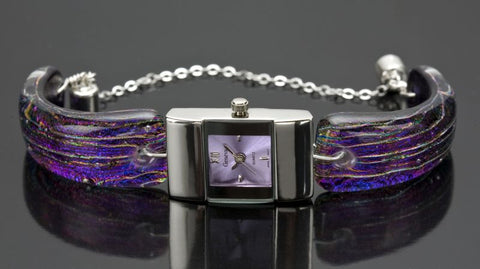 Purple Dichroic Glass and Silver Watch