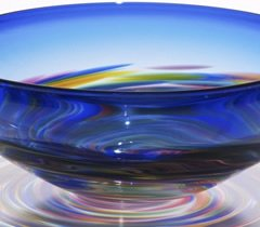 Cobalt Multi Vortex Blown Glass Bowl