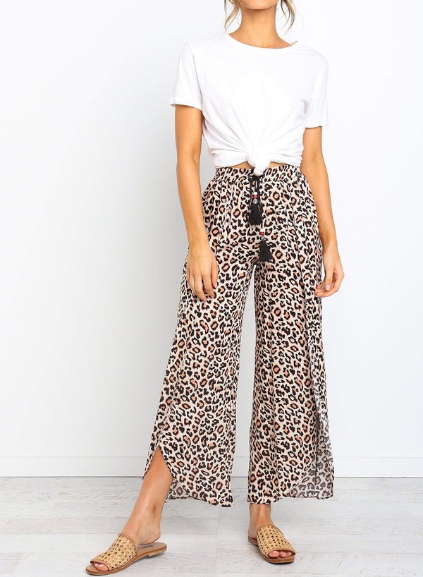 Drawstring Leopard Print Front Overlay Pants