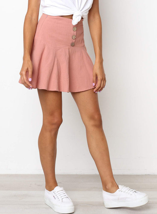 Dark Blush Invisible Side Zip Mini Skirt