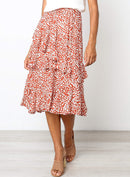 Tiered Ruffle Floral Long Skirt