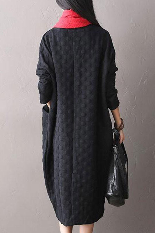 Polka Dot Stretch Cotton Long Sleeved Dress