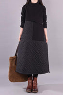 Winter Casual Padded Thick Spliced Dress