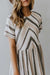 SIMPLE STRIPED ROUND NECK MIDI DRESS