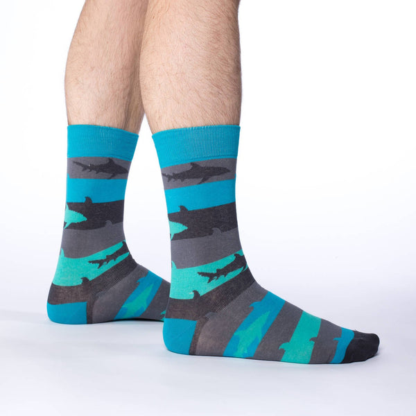 Mens Aqua Shark Week Sock