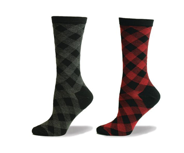 Ladies Bamboo Buffalo Check Sock