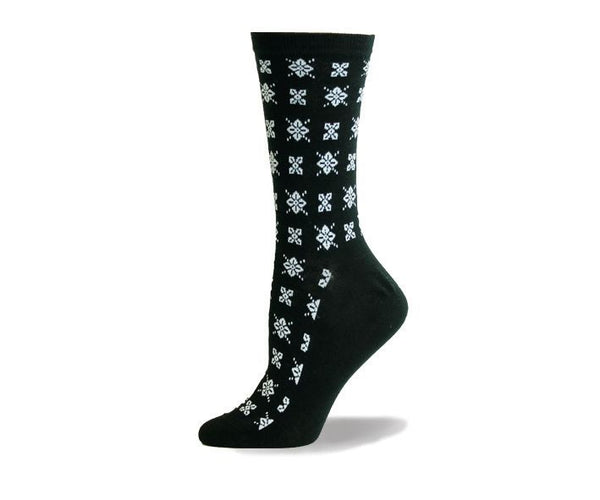 Ladies B&W Clover Sock