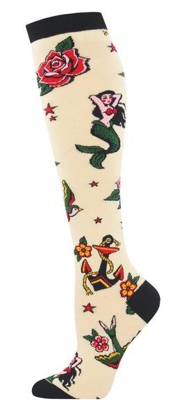 Ladies Tattoo Knee High Sock