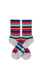 Ladies Blue Stripe Athletic Crew Sock