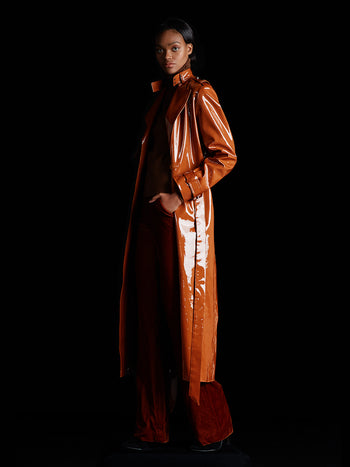 Mandarin PVC Trench Coat