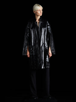Glazed Leather Cocoon Coat