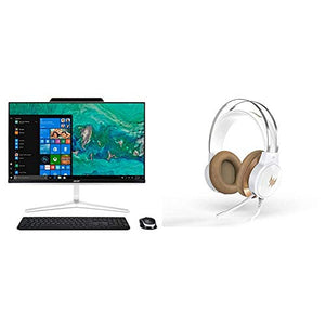 Acer Desktop 23.8-inch Full HD screen, 9th Gen Intel i5 Core + Predator 300 White Gaming Headset