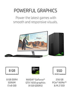 HP Pavilion Gaming Desktop, NVIDIA GeForce GTX 1650, Intel Core i5-10400F, 8 GB DDR4 RAM, 256 GB PCIe NVMe SSD, Windows 10 Home, USB Mouse and Keyboard, Compact Tower Design (TG01-1020, 2020)