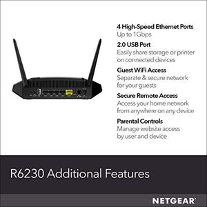 NETGEAR WiFi Router (R6230) - AC1200 Dual Band Wireless Speed (up to 1200 Mbps) | Up to 1200 sq ft Coverage & 20 Devices | 4 x 1G Ethernet and 1 x 2.0 USB ports