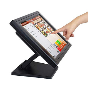 "17"" Touch Screen LED Display Monitor, Cash Register VOD System POS Stand Restaurant VGA LED Touch Screen Monitor HD for Restaurant Cafe Kiosk Retail"