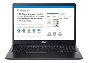 "Acer Aspire 1 A115-31-C2Y3, 15.6"" Full HD Display, Intel Celeron N4020, 4GB DDR4, 64GB eMMC, 802.11ac Wi-Fi 5, Up to 10-Hours of Battery Life, Microsoft 365 Personal, Windows 10 in S mode, Black"