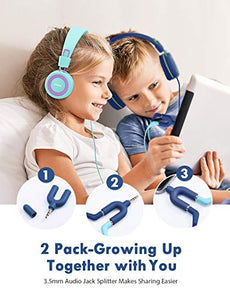 Mpow CH8 Kids Headphones with Microphone (2-Pack), Wired On-Ear Headsets with Safe Volume Limited 91dB, Foldable Durable Earphones w/Audio Splitter for Boys/Girls/Toddlers/Children/School/Travel/Plane