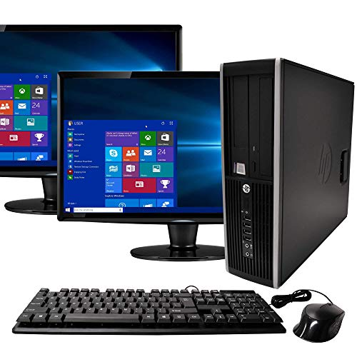 (Renewed) HP Elite Desktop Computer, Intel Core i5 3.1GHz, 8GB RAM, 1TB SATA HDD, Keyboard & Mouse, Wi-Fi, Dual 19in LCD Monitors (Brands Vary), DVD-ROM, Windows 10,