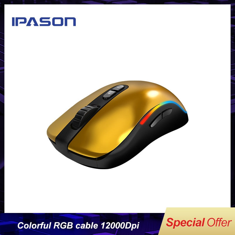IPASON G9 colorful RGB cable game competitive mouse wired computer macro programming mechanical mouse LOL 12000Dpi RGB Symphony