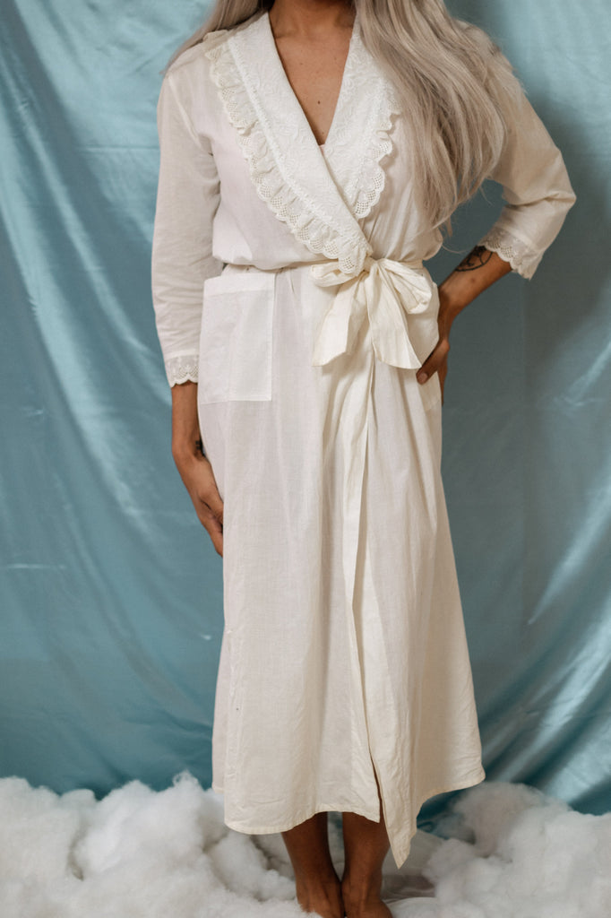 Ruffle Trim Cotton Robe