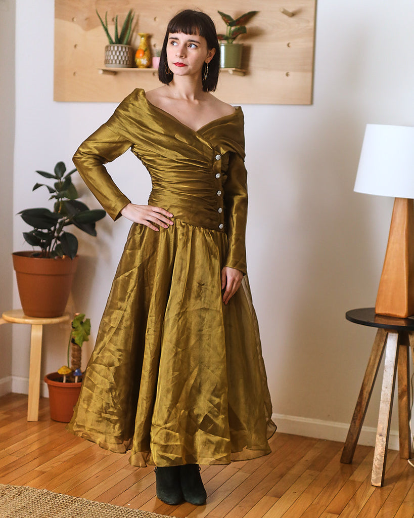 Golden Off Shoulder Gown