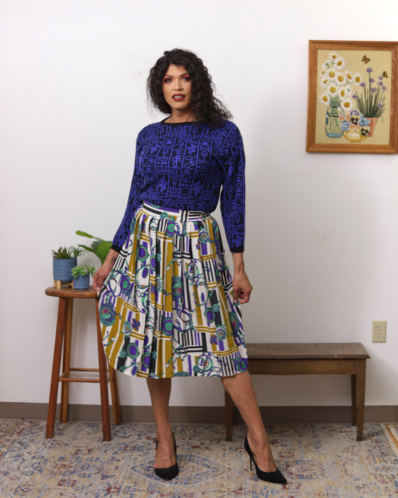 Vintage Patterned Pleat Skirt
