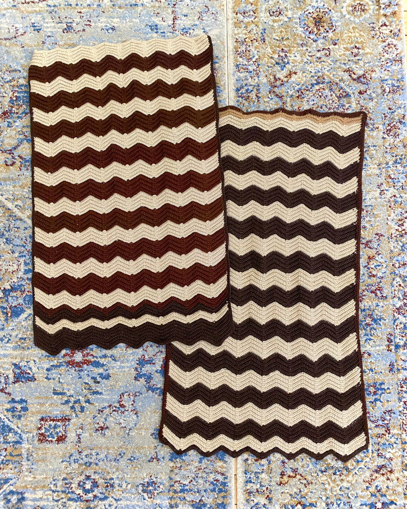 Brown Zig Zag Crochet Set