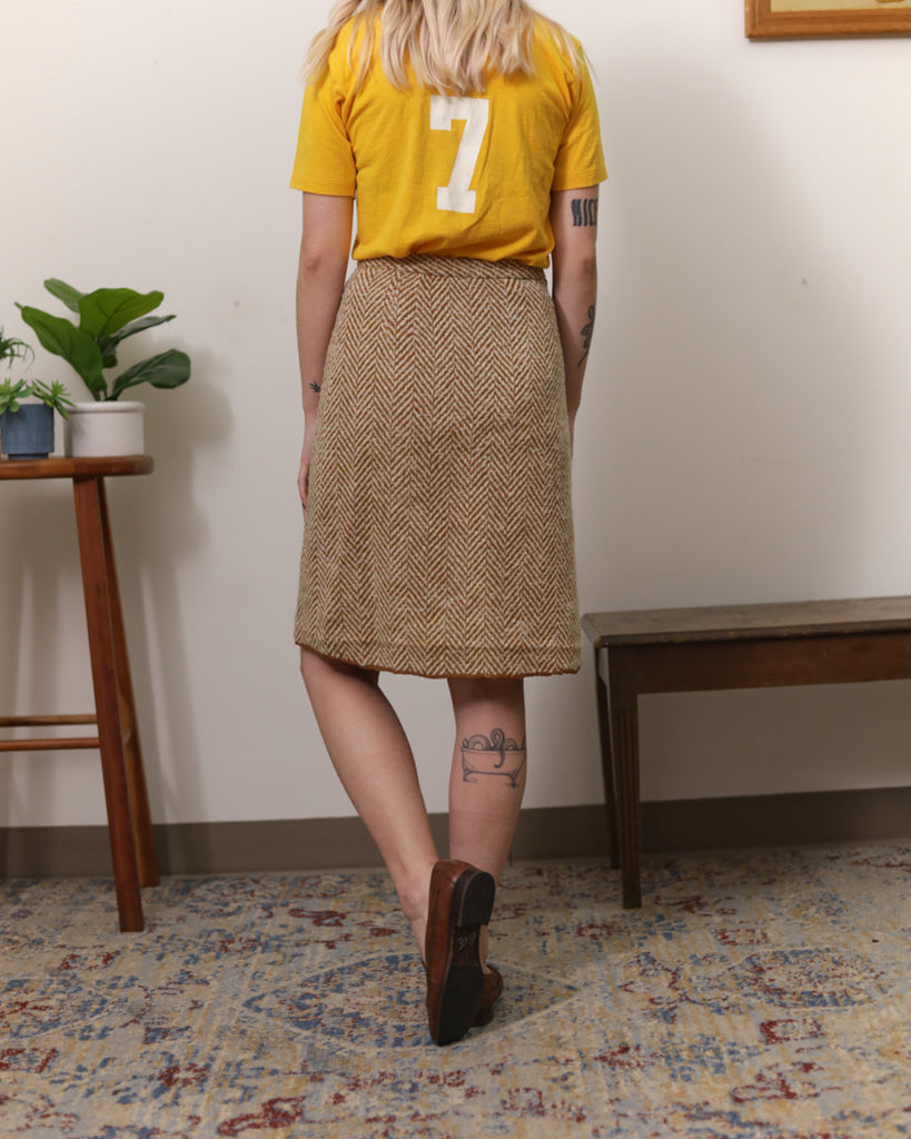 Vintage Beige Chevron Mini  Skirt