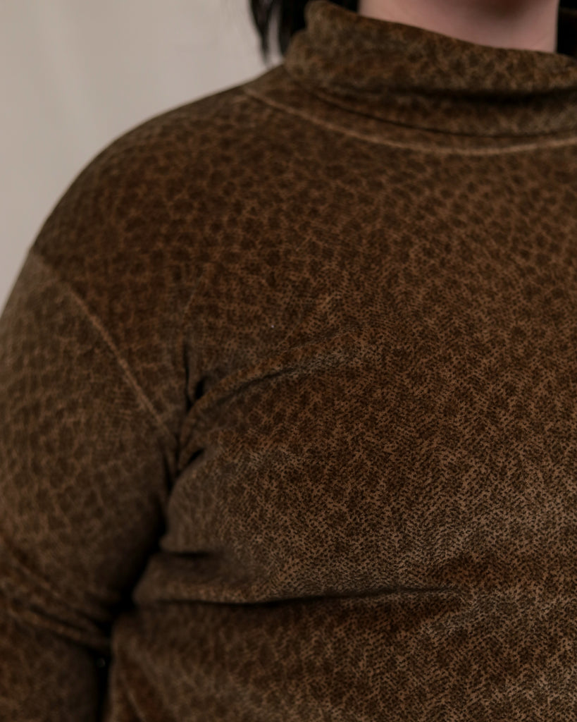 Velour Animal Print Turtleneck